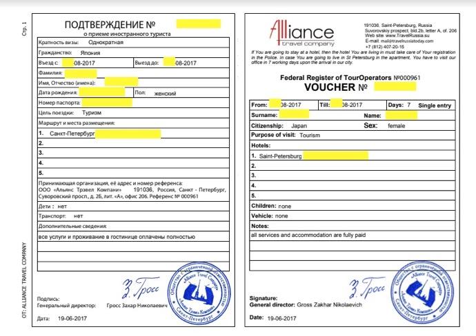 ロシアビザの空バウチャー
