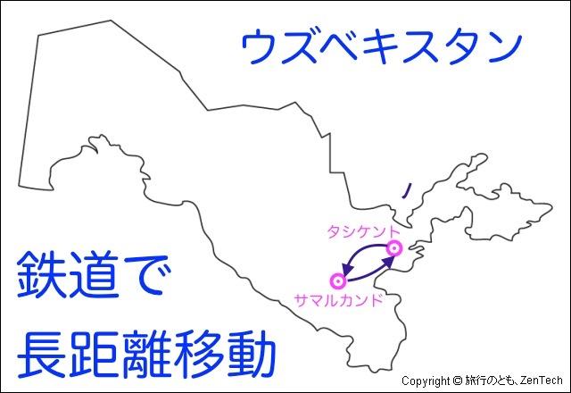 ウズベキスタンの長距離移動のマップ
