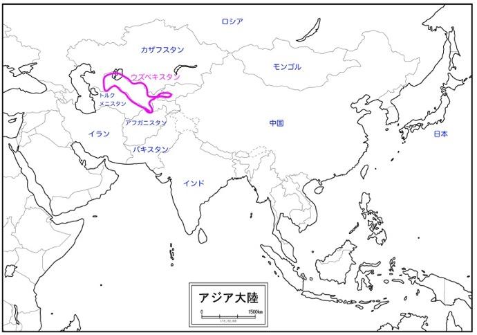ウズベキスタンのアジア大陸での位置