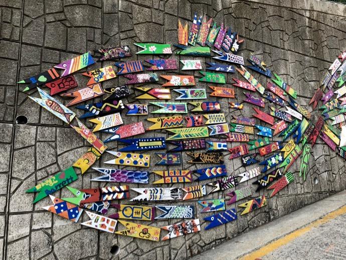 魚の壁アート
