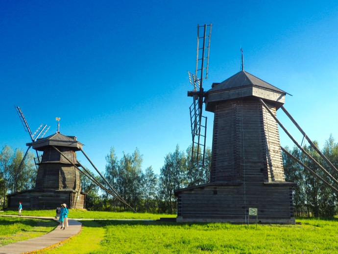 木造建築と農民生活博物館にある木造の風車