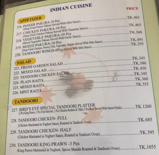 レストランの英語メニュー