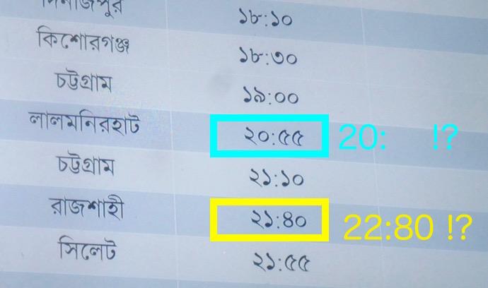 ダッカの時刻表の数字