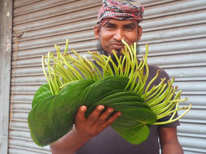 葉っぱを持つバングラデシュ男性