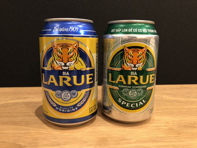 並べられたLARUEビール2缶