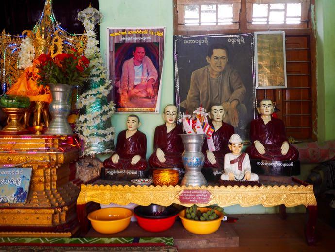 いろいろな表情のミャンマーの聖人たち