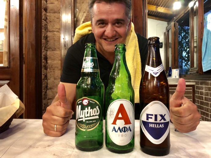 ギリシャビール3種と店主