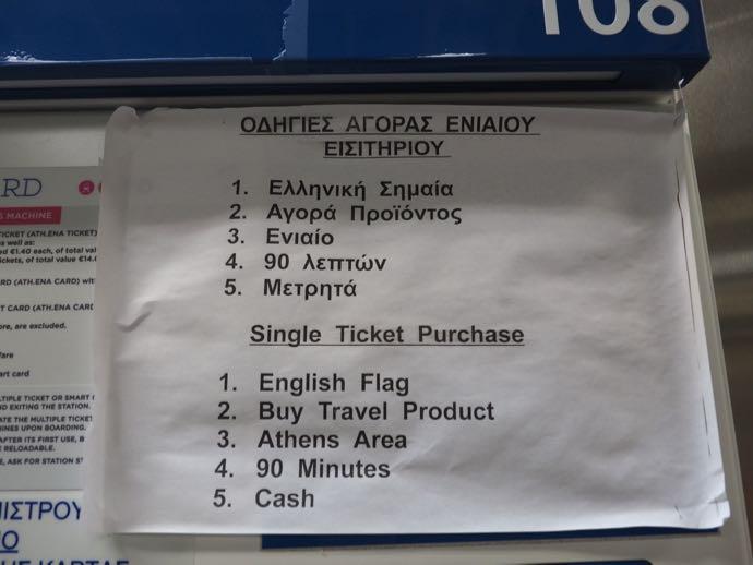 アテネ地下鉄の切符購入方法の説明書き