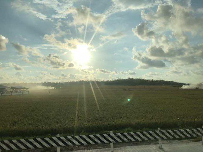 Partusのバス車窓から見える夕日