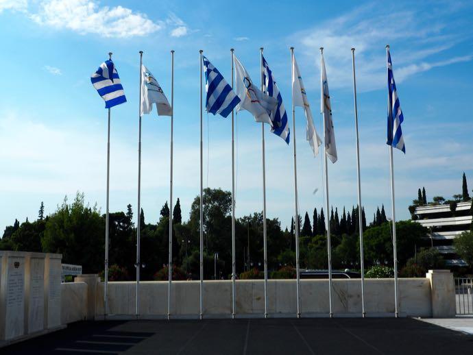 オリンピックの旗10本