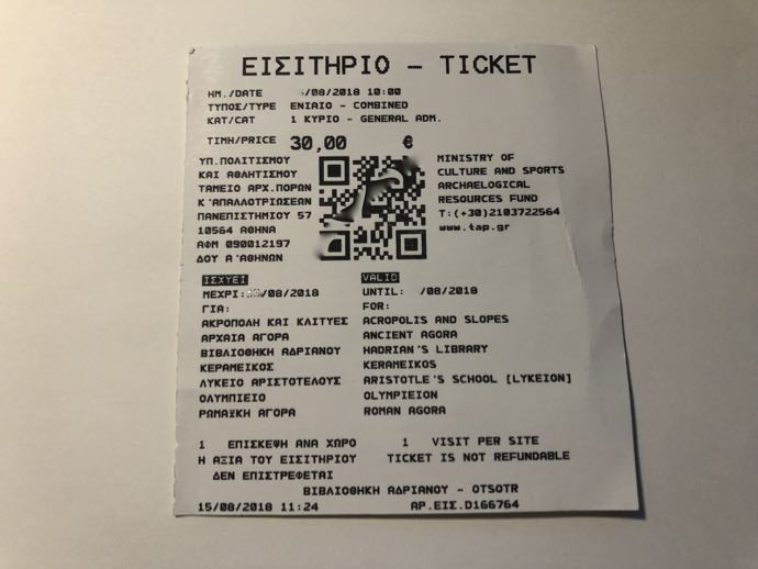 アテネ観光の共通チケット
