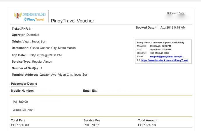 Pinoy Travelのバウチャー