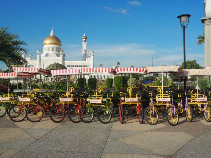 自転車とモスクで遊園地みたい