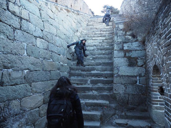 壁のぼりのような慕田峪長城