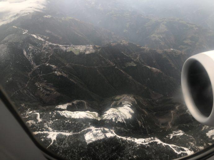 機内から見たカトマンズ