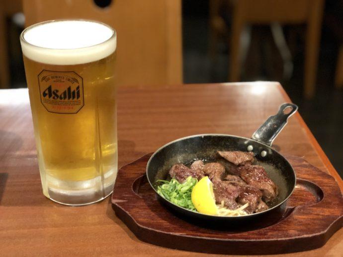 ぼてぢゅうのビールとハラミ鉄板焼き