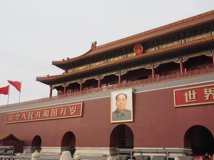 天安門広場の毛沢東の写真