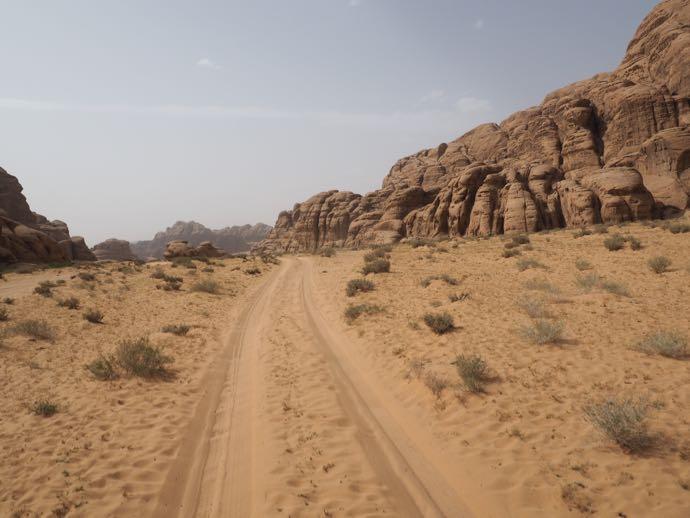 砂漠の荒涼とした道