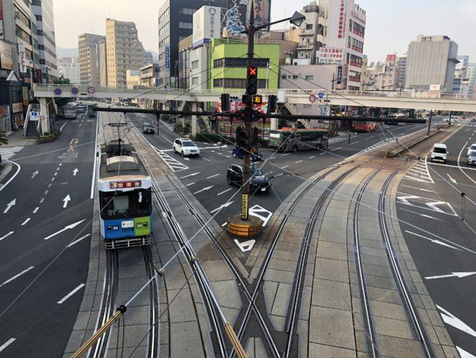 上から見た路面電車