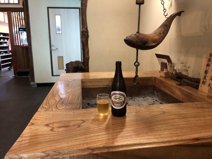 囲炉裏とビール