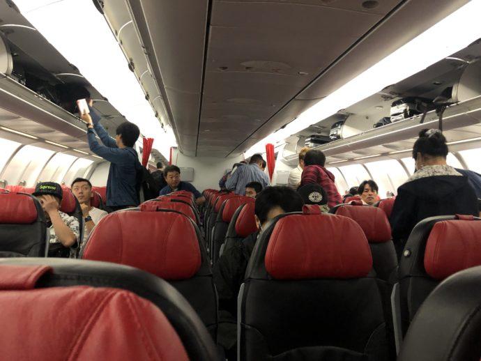 エアアジアの機内の様子