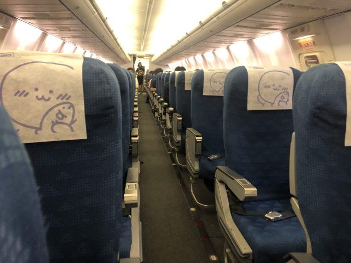 ガラガラのジンエアーの機内