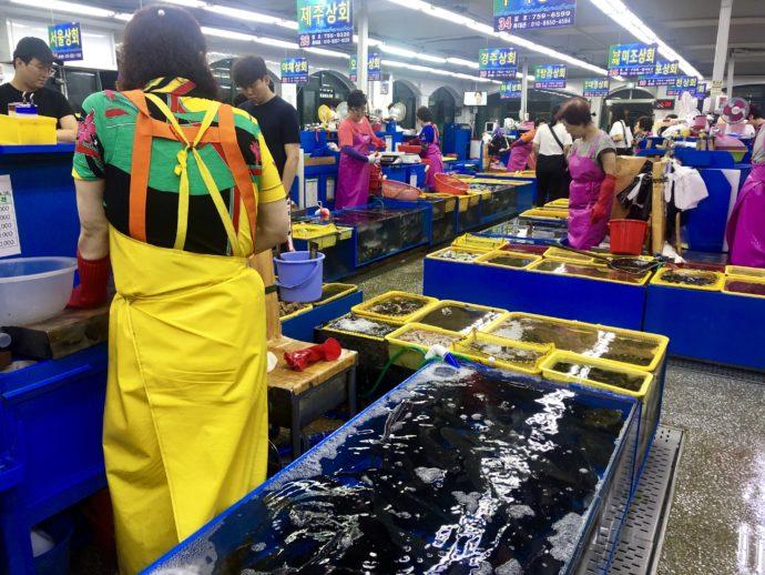民楽刺身街の魚売り場