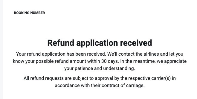 Kiwi.comへ返金申請画面