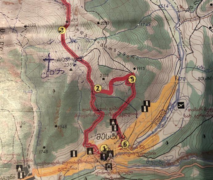 メスティアの登山地図