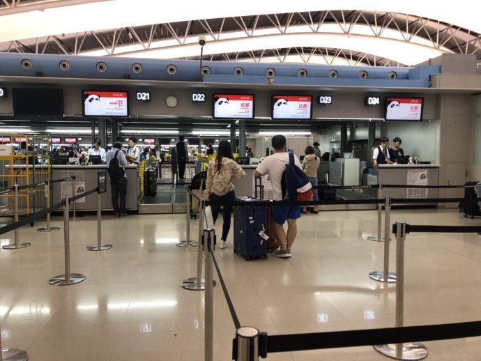 四川航空のチェックインカウンター