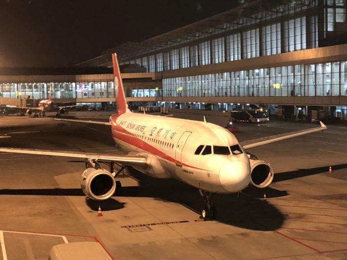 成都国際空港に到着した飛行機