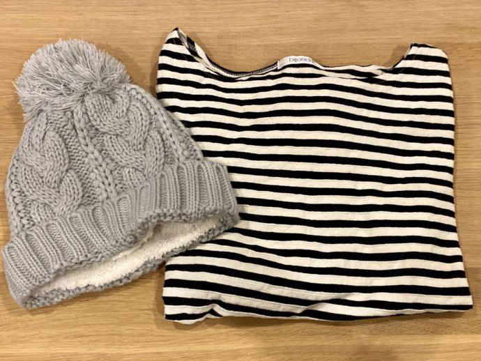 ニット帽とボーダーシャツ