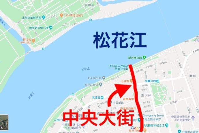 ハルビン松花江の地図