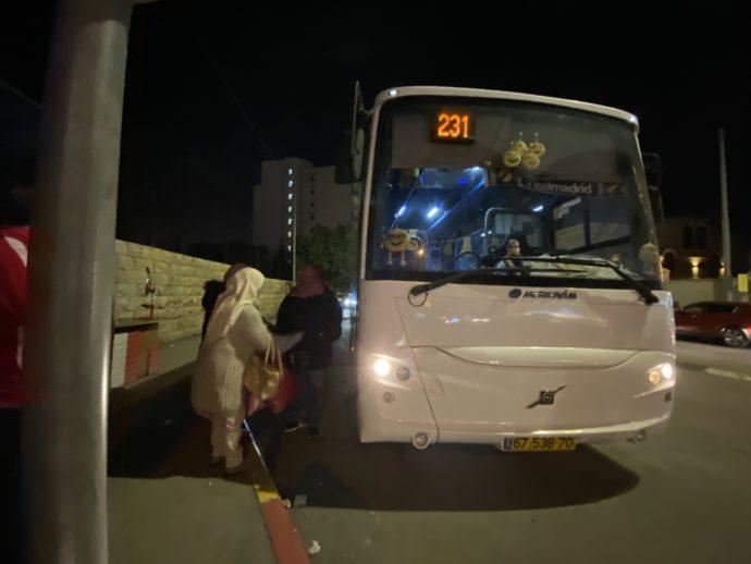 ベツレヘムからエルサレムへ向かう231番バスの停留所