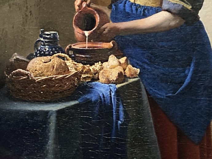 フェルメール「牛乳を注ぐ女」の拡大図