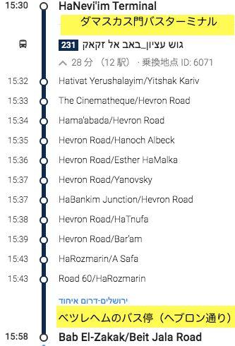 エルサレム〜ベツレヘム231番バス乗り換え案内