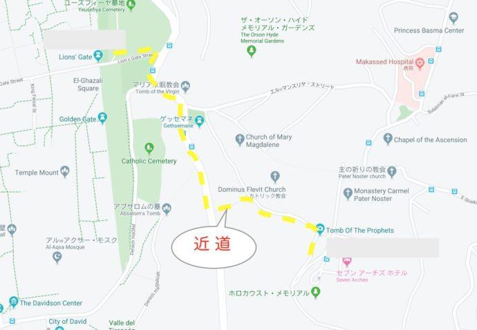 オリーブ山への観光マップ