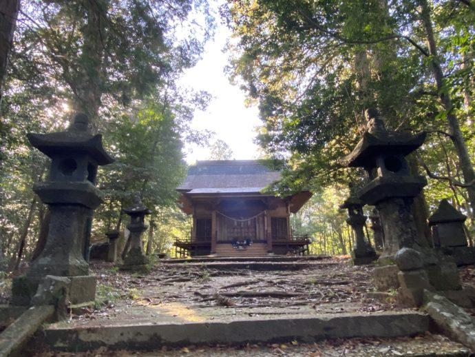 向山神社の石階段と灯篭