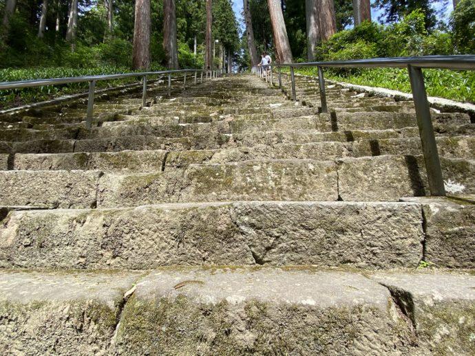 高低差のきつい菩提梯の石段