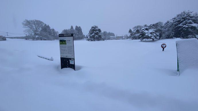 雪に埋もれた無量光院跡