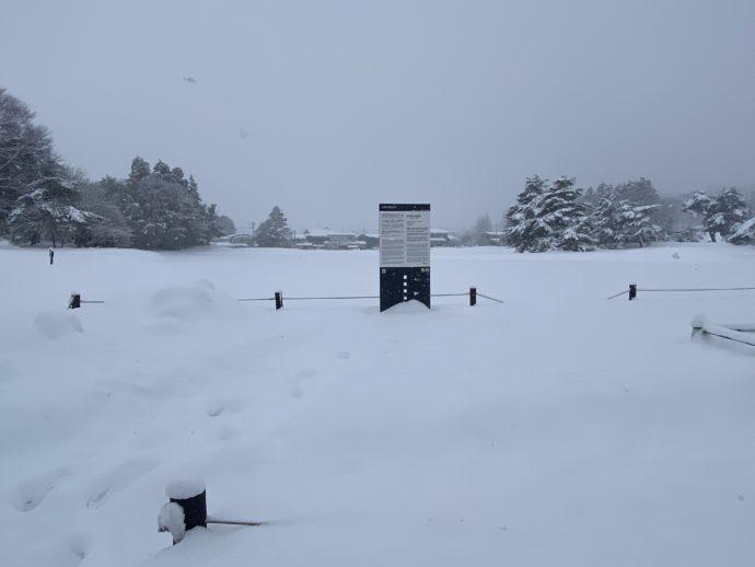 大雪の無量光院跡