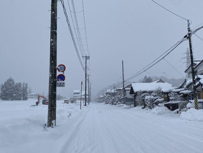 大雪の無量光院跡の前