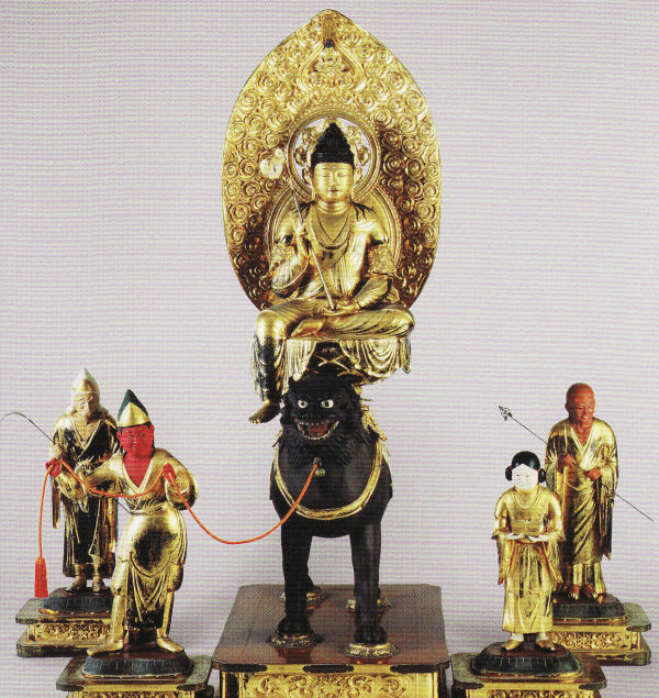 騎獅文殊菩薩と四眷属