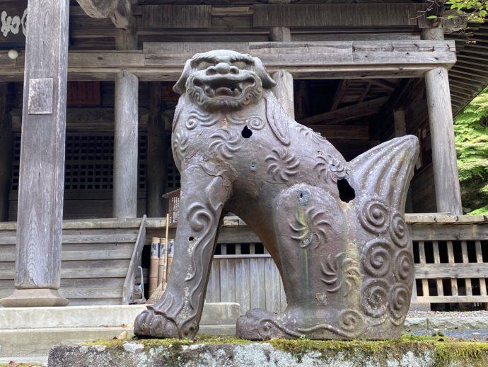 黒石寺の本堂前の狛犬
