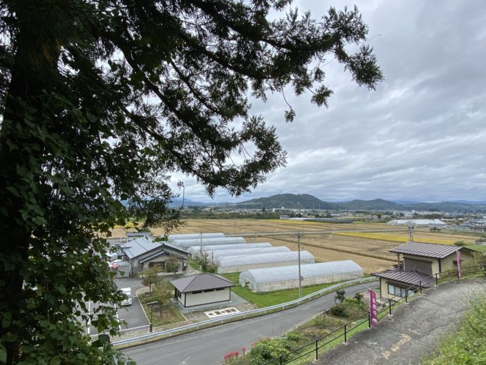 本山慈恩寺の参道から見下ろした田園風景