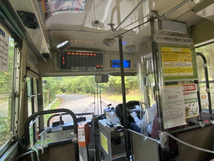 下北交通のバス車内