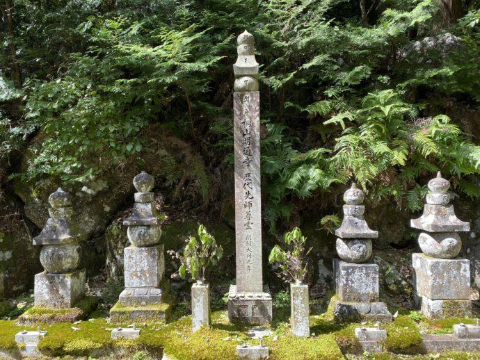 明通寺の三重塔の奥の墓所