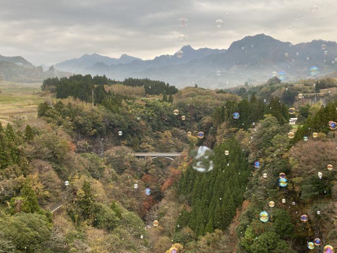 高千穂峡とシャボン玉