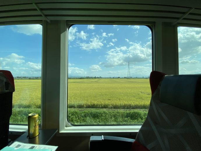 リゾートしらかみから見える田んぼ