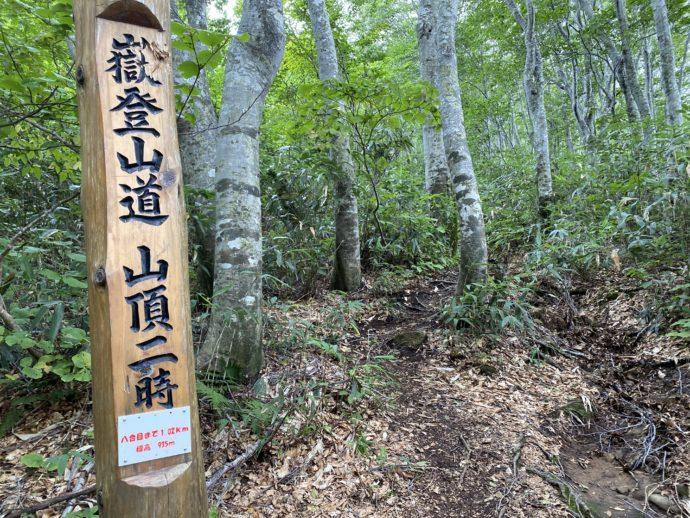 岩木山登山道の標識